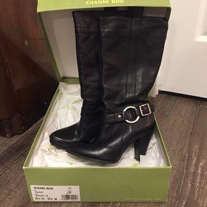 NIB Gianni Bono Black leather boots KAI001 7.5 M